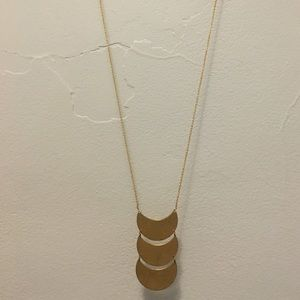 Brass Hammered Moon Necklace